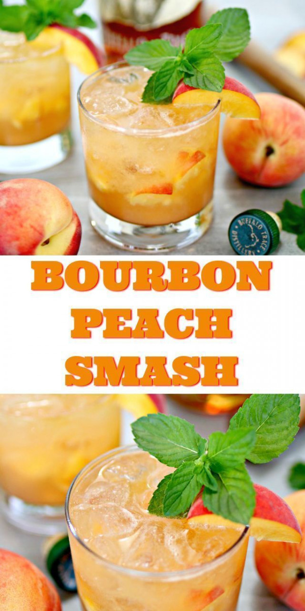 Bourbon Peach Smash Cocktail
