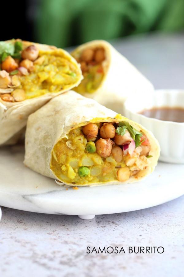 Samosa Wraps - Spiced Potato Chickpea Chutney Burrito