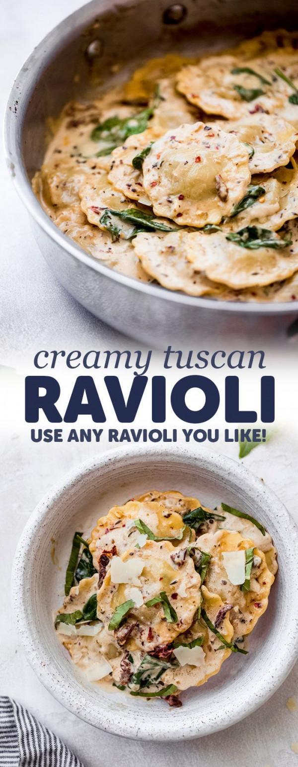 Easy Date Night Creamy Tuscan Ravioli Recipe