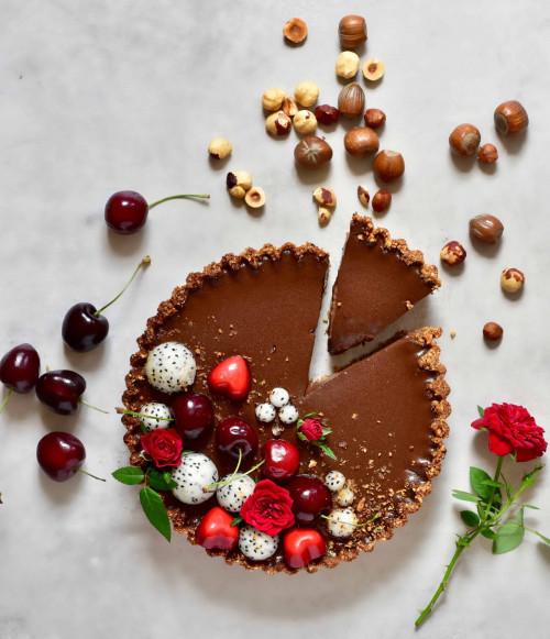 Vegan Chocolate Cherry Black Forest Tart