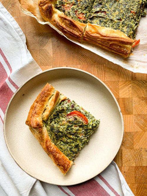 Vegan quiche with ricotta and spinach   Traditional Italian Dish
