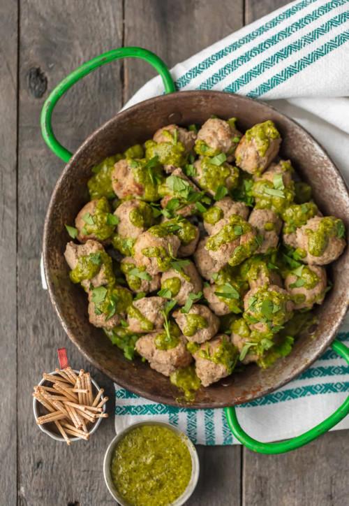 Peruvian Chicken Meatballs with Green Sauce