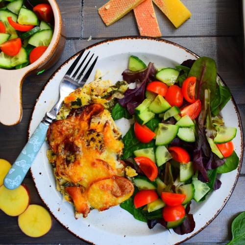 Chicken Tartiflette and Salad