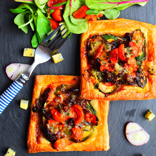 Courgette and Tomato Tart with Blue Cheese