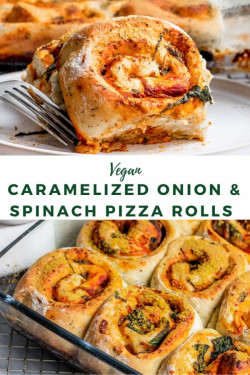 Vegan Caramelized Onion & Spinach Pizza Rolls