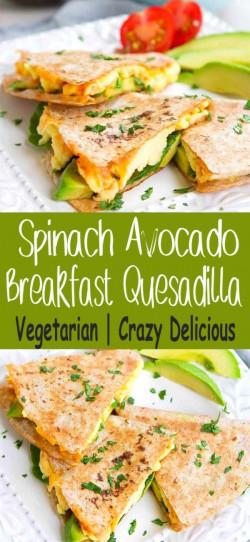 Spinach Avocado Breakfast Quesadilla