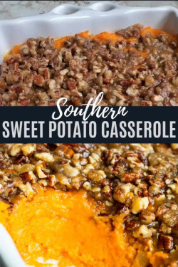 Southern Sweet Potato Casserole with Pecan Topping