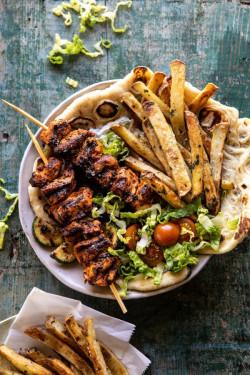 Chicken Souvlaki Bowls with Garlic Fries