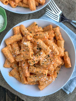 Roasted Red Pepper Rigatoni with Peanut Butter on Top