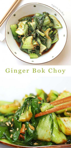 Sauteed Ginger Bok Choy Recipe - Stir-Fried Chinese Green Cabbage