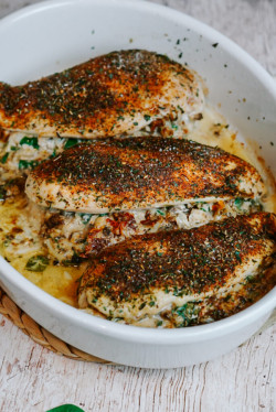 3-Cheese Spinach Stuffed Chicken Breasts