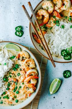 Jalapeño Shrimp with Coconut Rice Noodles