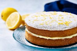 Easy Vegan Sponge Cake, with Lemon Butter Icing