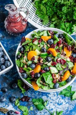 Cranberry Blueberry Salad with Blueberry Balsamic Dressing