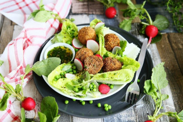 Crumbed Meatballs with Green Pea Salad