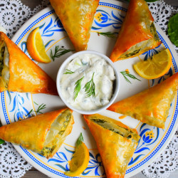 Spinach and Feta Filo Parcels with Tzatziki
