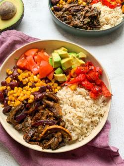 """Vegan Burrito Bowl with Mushroom """"meat"""""""