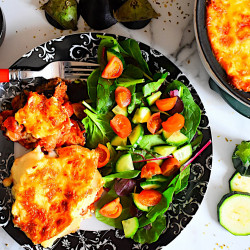 Vegetarian Moussaka with Chickpeas served with a fresh green salad