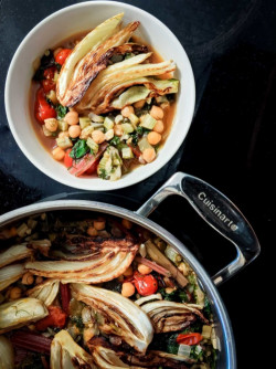 Caramelized Fennel, Swiss Chard, and Chickpea Stew
