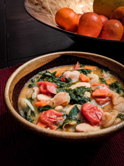 Butter Beans with Tomatoes and Mustard Greens